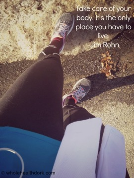 Running shoes with Jim Rohn body quote